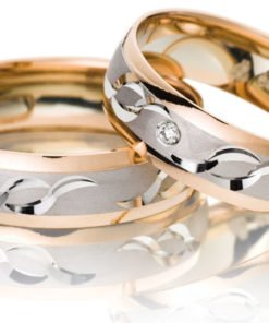 rose gold with white centre wedding ring