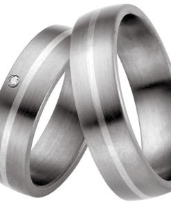 Matching titanium wedding bands with centre sterling silver stripe