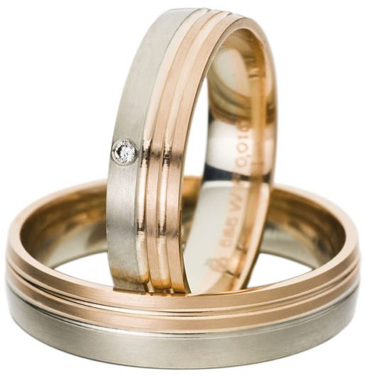 White and Rose Gold Wedding Ring with Matt Finish