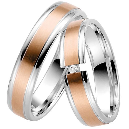 rose and white gold ring