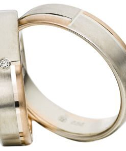 White Gold Wedding Ring with Rose Gold Detail