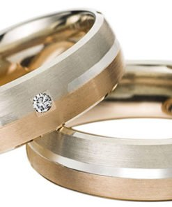 Striped Rose and White Gold Wedding Ring
