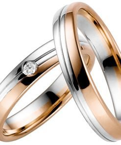 White and Rose Gold Mixed Metal Wedding Ring