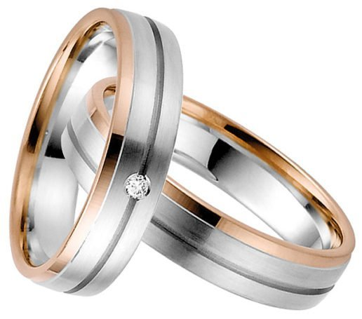 White and rose gold wedding ring
