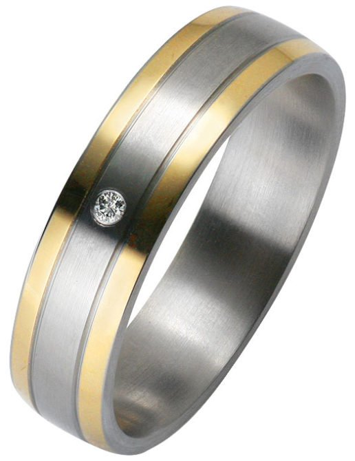 ladies Stainless Steel Wedding Ring with 14k Yellow Gold Stripes