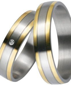 Stainless Steel Wedding Ring with 14k Yellow Gold Stripes