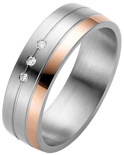 Ladies Steel Wedding Ring with 14k Rose Gold Detail