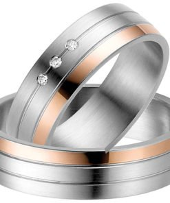 Steel Wedding Ring with 14k Rose Gold Detail