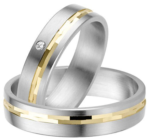 stainless steel wedding rings with gold detail