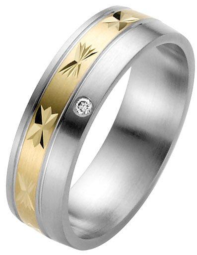 Steel wedding ring with diamond cut yellow gold