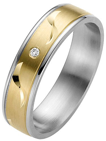 ladies yellow gold and steel wedding ring