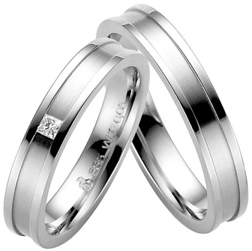 Stylish Modern White Gold Wedding Ring