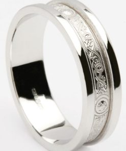 Palladium Celtic Shield Wedding Band with Heavy Flat Rims