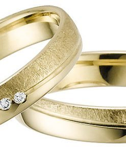Yellow Gold Wedding Ring with Matt and Polished Finish