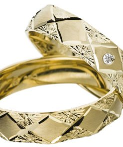 Yellow Gold Wedding Ring with Diamond-Cut Pattern