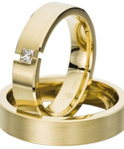 Yellow Gold Contemporary Flat Court Wedding Ring