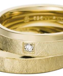 Yellow Gold Wedding Ring with Brushed Matt Finish