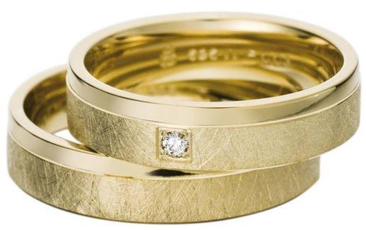 Yellow Gold Wedding Ring with Brushed Matt Finish