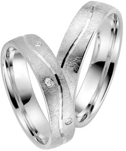 Contemporary Palladium Wedding Ring with Ice Matt Finish