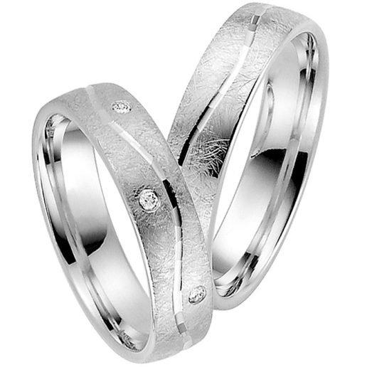 Contemporary Palladium Wedding Ring with Ice Matt Finish