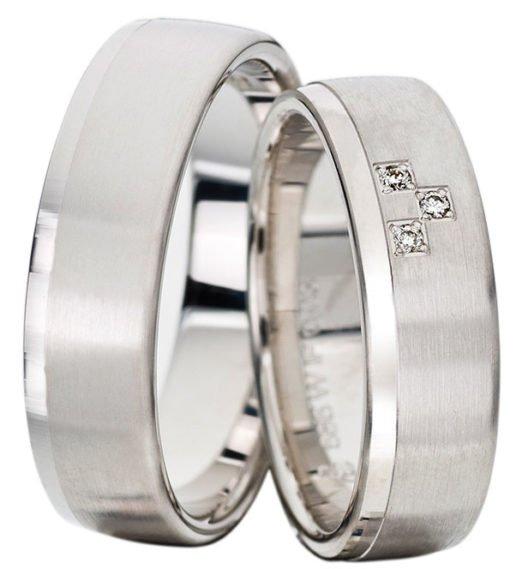 Palladium Satin Finish Wedding Ring with Polished Rail Ring