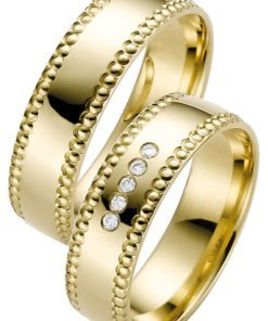 Yellow Gold Wedding Ring with Beaded Edge