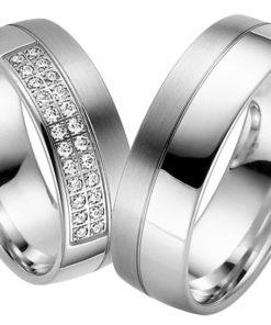 diamond set Palladium Wedding Ring