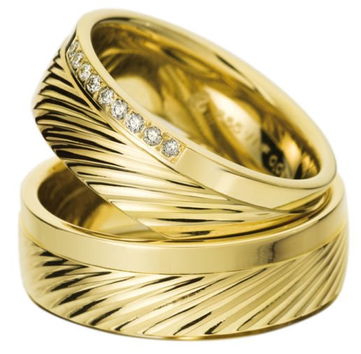 Wide Yellow Gold Wedding Ring with Striped Pattern