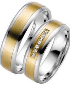Palladium Wedding Ring with Yellow Gold Centre