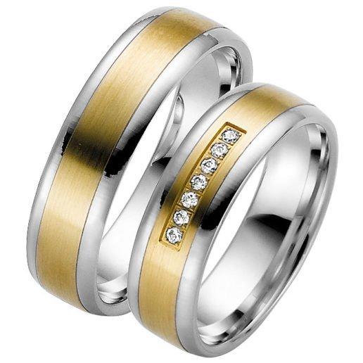 Palladium Wedding Ring with Yellow Gold Centre