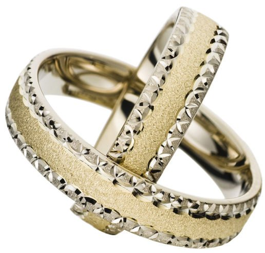 White Gold Wedding Ring with Yellow Gold Centre