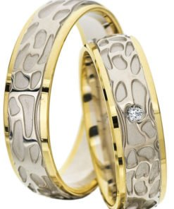 White Gold Wedding Ring with Yellow Gold Edges