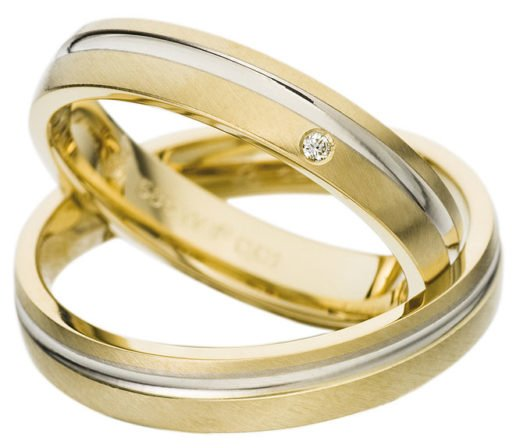 Yellow Gold Wedding Ring with White Gold Groove