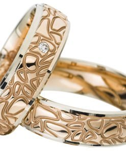 Contemporary Rose Gold and White Gold Wedding Ring