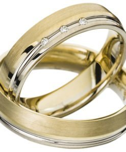 Yellow Gold Wedding Ring with White Gold Rail