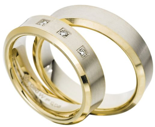 Concave Two Tone Gold Wedding Ring