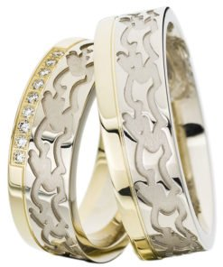 White Gold Wedding Ring with Yellow Gold Rail