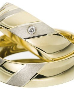 Yellow Gold Wedding Ring with White Gold Stripes