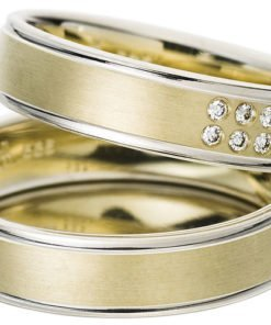 Yellow Gold Wedding Ring with White Gold Rims