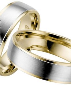 White Gold with Yellow Gold Edges wedding ring
