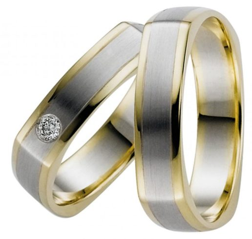 Four-Sided Two Tone Gold Wedding Ring