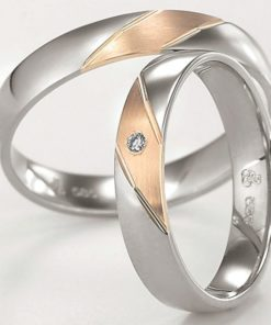 8k White Gold with Rose Gold Stripe Wedding Ring