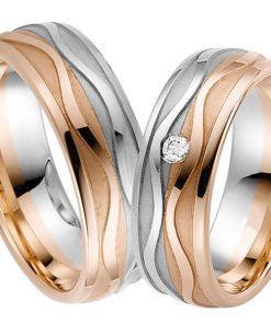 Rose and White Gold Wedding Ring with Polished Wave Detail