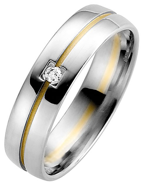 White Gold with Yellow Gold Groove Wedding Ring