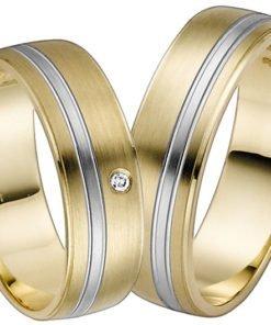 Yellow Gold with Palladium Stripe Wedding Ring