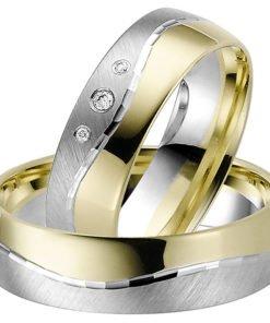 Yellow Gold and Palladium Modern Wedding Ring