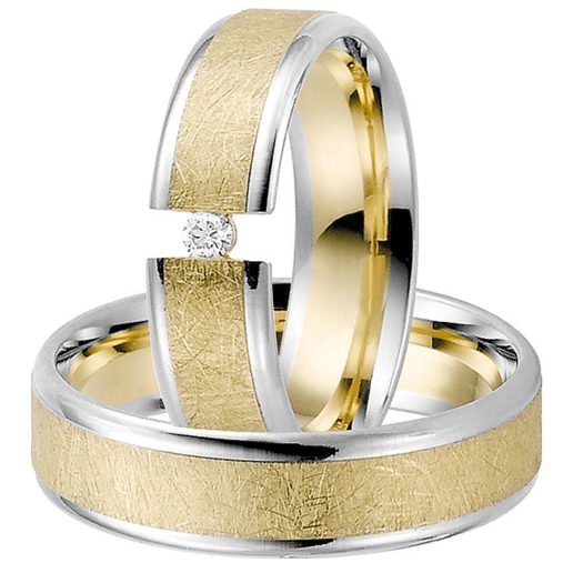 Yellow Gold Wedding Ring with White Gold Edges