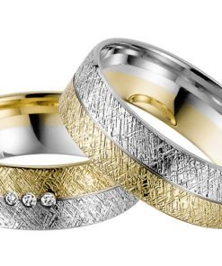 Ice Matt Yellow and White Gold Wedding Ring