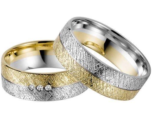 Ice Matt Yellow and White Gold Wedding Ring