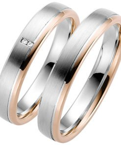 Palladium Wedding Ring with Rose Gold Rail
